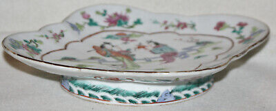 Chinese Late 19th Century Large Taza Ovoid Porcelain Plate Lady and Suiter