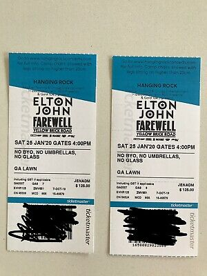 Elton John Farewell Tour 2x GA Tickets - Hanging rock January 25th