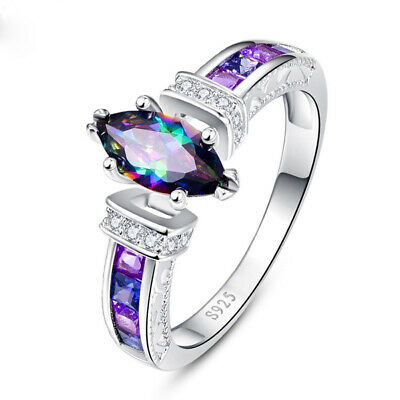 Gorgeous Silver Wedding Rings for Women Marquise Cut Mystic Topaz Ring Size 7