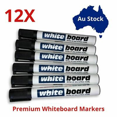 12X Whiteboard Markers Black Blue Colour Bullet Tip Office Stationary Pens Au