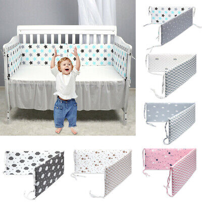 Newborn Baby Bed Bumper Crib Around Cushion Cot Protector Pillows Room Decors UK