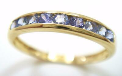 Bestjewellery 10Kt Solid Yellow Gold Natural Tanzanite Band Ring Size 7 R1103