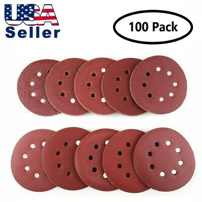 100 Pcs 5 inch Sanding Disc 40/60/80/100/120/180/240/320/400/800 Assorted Grits