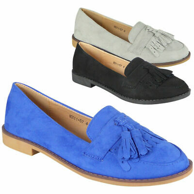 Ladies Flats Loafers Womens Slip On Tassel Suede Office School Work Shoes Size