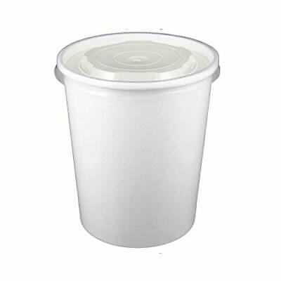 32oz White Soup Container bundle with Matching Plastic Lids