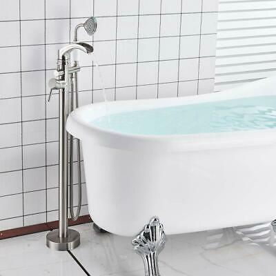 Bathtub Faucet Floor Mounted Single Handle Tub Filler Shower Mixer Tap Brushed