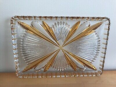 Lovely Vintage Art Deco Style Clear And Amber Glass, Dressing Table Tray in VGC