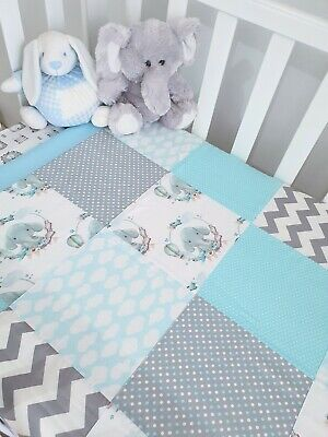 New Baby Boy Cute Elephant patchwork design Cot quilt - soft blues & Greys.