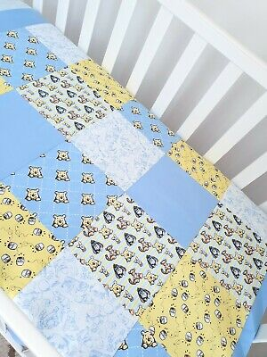 """New """"Winnie the Pooh"""" Patchwork design Cot quilt - sky blues & soft yellow"""