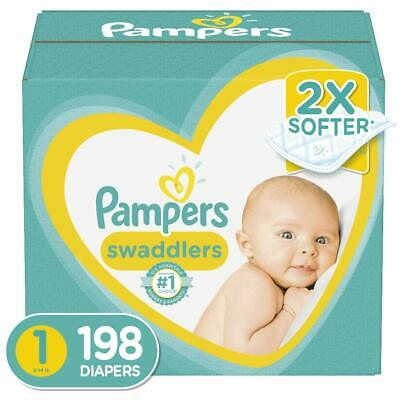 Diapers Newborn Size 1 (8-14 lb), 198 Count - Pampers Swaddlers Disposable Diapr