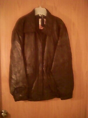 Flight Path brand men's black leather jacket, 44 chest, polyester lining