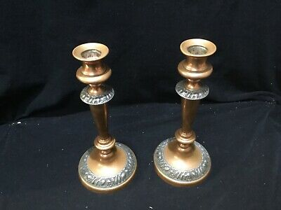 A PAIR OF VINTAGE COPPER & Pewter ARTS & CRAFTS CANDLE STICKS 24 cm tall