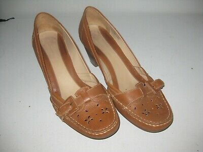 Ladies Clarks Leather Heeled Shoes - Uk Size 8 - Brown - Vgc