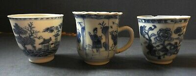 3 X  Chinese Porcelain Blue & White Beakers / Cups - Kangxi - C.1700