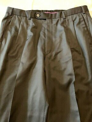 Hiltl Pleated Angelico Super 140s Wool Dress Pants Canton Size 38 54 Black New $
