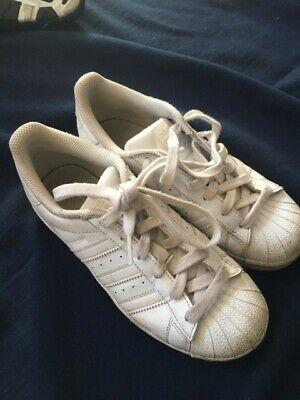 Adidas Superstar trainers, white leather, size UK 3