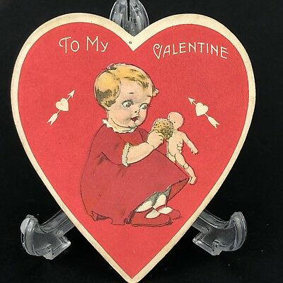 Valentines Card Girl Bathtime German Bisque Doll Toy Old Vtg Antique 1920s 30s
