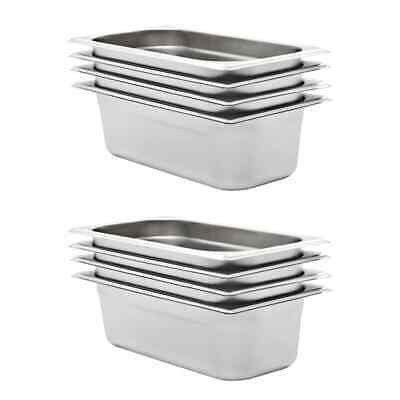 vidaXL 8x Pans GN 1/3 100mm Stainless Steel Kitchen Stackable Tray Container~