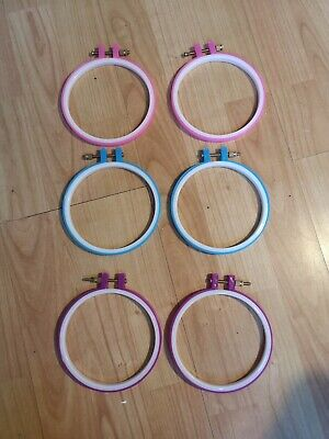Neon Pink Blue Craft Kitsch Plastic Embroidery and Cross Stitch Hoop Frame 4.9""