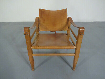 Mid-Century Model 2221 Oak & Leather Safari Chair by Borge Mogensen