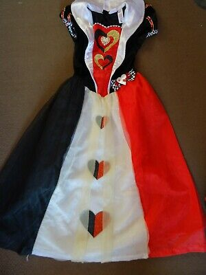 Girls Queen of Hearts Outfit Costume size age 9 10 years Alice in Wonderland