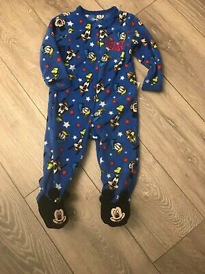 Bnwt Disney Mickey Mouse Sleepsuit baby boys All-In-One Pyjamas age 12/18  mths