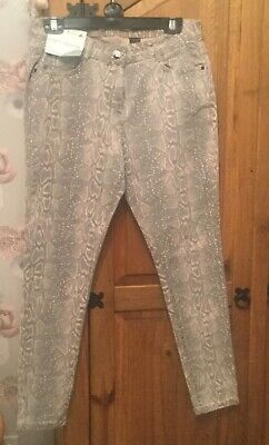 Next Jeans Skinny Mid Rise Soft Touch Size 14 Grey With Pink Snake Print