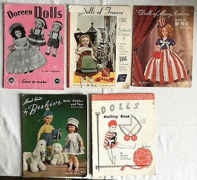 5 Vintage Doll Clothes Knitting Crochet Pattern Books 1950s