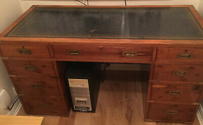 antique furniture English Mahogany Twin Partners Desk With Green Marquetry Inlay