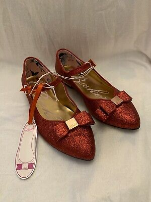 BNWT Girls Ted Baker Party Wedding Occasion Red Glitter Pumps Shoes Size UK 1