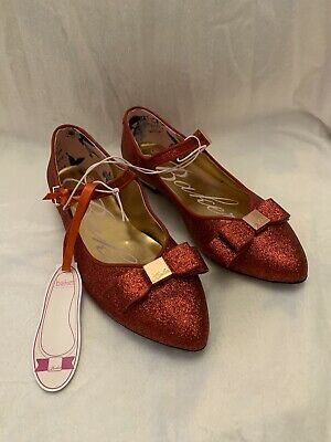 BNWT Girls Ted Baker Party Wedding Occasion Red Glitter Pumps Shoes Size UK 2