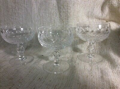 """Vintage Waterford Cut Crystal """"Colleen """" set of 3 Champagne Tall Sherbet  4 3/8"""""""