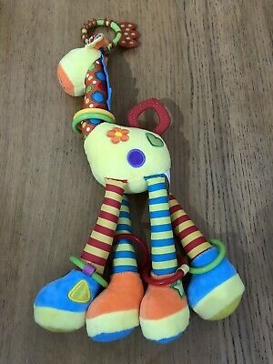 Happy Monkey Baby Pram Toy Soft Plush Animal Giraffe and Rattle COLOURFUL VGC
