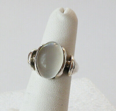 Vintage 925 Sterling Silver Frosted Quartz Ring   Size 5.25  8 grams