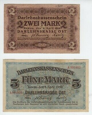 2 and 5 mark Germany occupation of Lithuania Kowno 1918 [AH693]