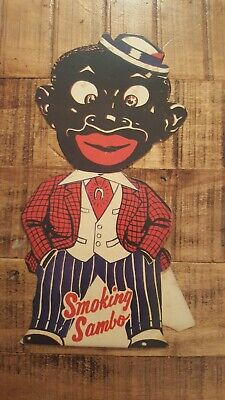 Vintage - Smoking Sambo Cardboard Store Stand-Up Cigarette Ad. - CA 1940s