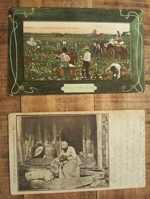 Vintage - 2 Early 1900s African American Postcards (USED With Cancelled Stamp)
