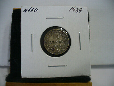 1938  Canada  Silver  Dime   1/10  Dollar  10 Cent Coin   Newfoundland  Sterling