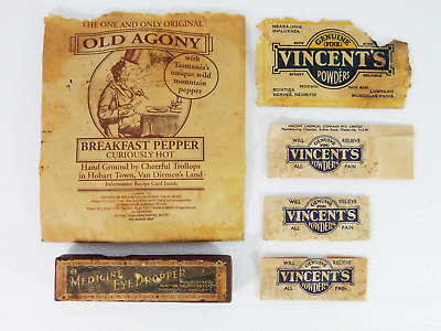 Antique Vintage Bulk Job Lot Vincents Pain Powder Old Agony Pepper Paper Set