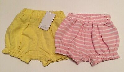 NEW Mothercare Baby Girl Shorts Yellow Plain & Pink Stripe Ruffle Trim Up To 1m