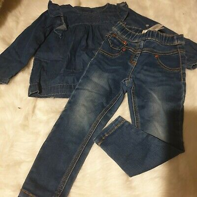 Girls 2-3 Years Outfit denim frilly blouse Top jeggings Skinny Jeans bundle Next