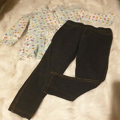 Girls 2-3 Years Outfit blouse tunic Top & jeggings Skinny Jeans bundle Next Day