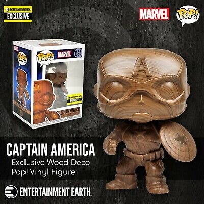 Funko Captain America Wood Deco Pop! Vinyl Figure Entertainment Earth Exclusive