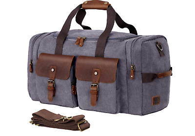 Gray Brown Genuine Leather Canvas Travel Shoulder Handbags Luggage Duffel Bag