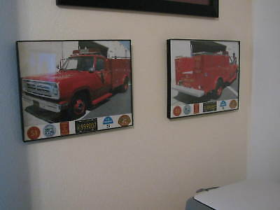 Emergency Squad 51 L.A. County T.V. truck framed PAIR of 8.5 x 11 -