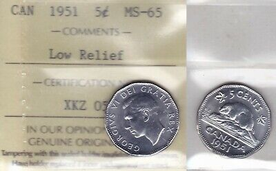 1951 ICCS MS65 5 cents Low Relief LR Canada five nickel