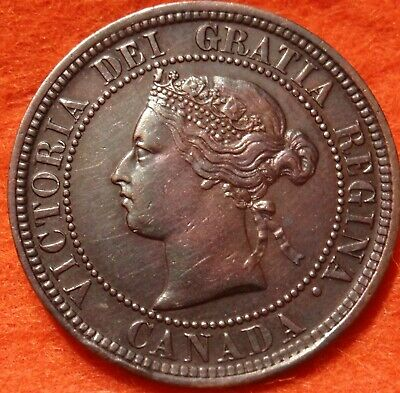 1876 H AU-UNC High Grade CANADA LARGE CENT Victoria COIN CANADIAN.