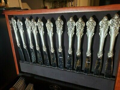 """Wallace Grand Baroque Sterling Silver Handle Dinner Knives 9"""" No Mono"""