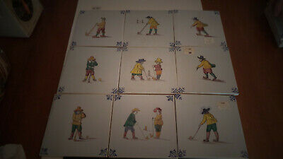 Lot of 9 Vintage Westraven Holland Golf Hand Painted Tiles,vgc.