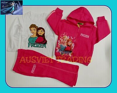 New girls Frozen Elsa Track Suit Hoodie Jacket cotton top tshirt tracksuit